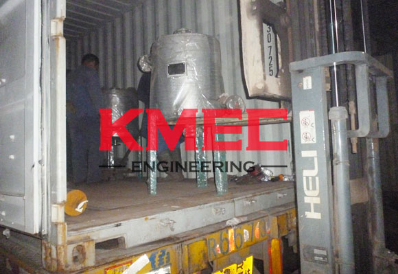 put oil refinery equipment into the container
